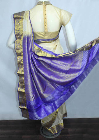 Half White with Violet Semi Silk Saree- FH170 ARRS Silks