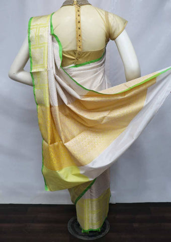 Half white with Yellow Organza Cotton Sarees- FV26074 ARRS Silks