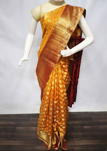 Honey color with Maroon Semi Raw Silk Saree - FL67984 ARRS Silks