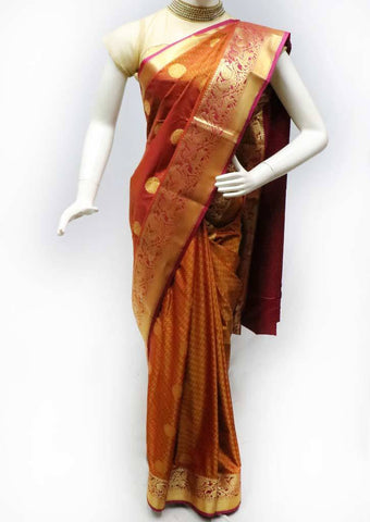 Honey Color with Pink Semi Silk Saree - FS43690 ARRS Silks