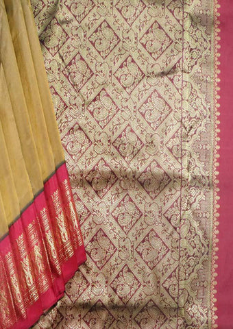 Honey with Maroon 9.5 Yards Silk Saree - FS29191 ARRS Silks