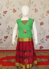 Green Art Silk Pavadai