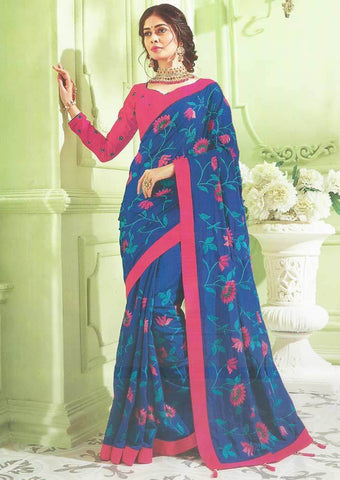Ink Blue with Pink Designer Saree - FS31713 ARRS Silks