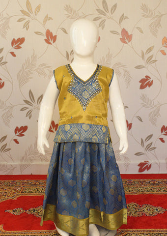 Yellow with Blue Art Silk Pavadai