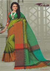Parrot Green Chettinad Cotton Saree With Kalamkari Blouse