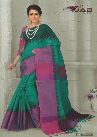 Peacock green Chettinad Cotton Saree With Kalamkari Blouse