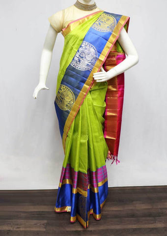 Leaf Green with Pink  Kanchipuram Silk Saree -FR127686 ARRS Silks