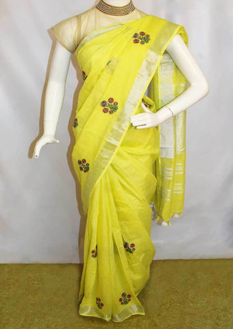 Lemon Yellow  Linen Saree - FO44862 ARRS Silks