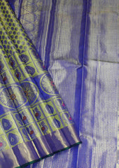 Lemon Yellow with Dark Blue  Wedding Silk Saree - FF17309 ARRS Silks
