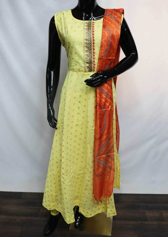 Lemon Yellow with Orange  Readymade Salwar-FU47083 ARRS Silks