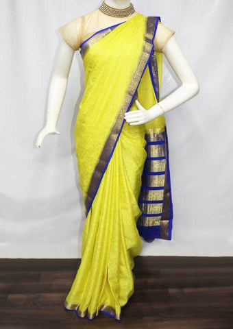 Lemon Yellow with Pepsi Blue Mysore Silk Saree - FL68320 ARRS Silks