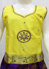 Lemon Yellow with Violet Pattu Pavadai - FR22030  (Size : 8 Years ) ARRS Silks