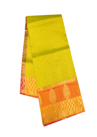 Lemon Yellow  with Pink Light weight Kanchipuram Silk Saree