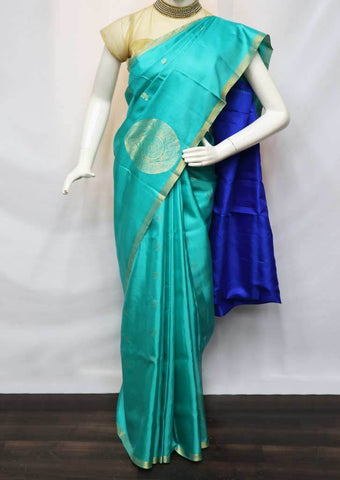 Light Aqua Green With Blue Soft Silk Saree - FU45289 ARRS Silks