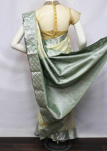 Light Beige with Green Silk Cotton Saree - FV28325 ARRS Silks