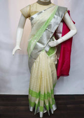 Light Beige with Pink Semi Silk Saree - FS33159 ARRS Silks