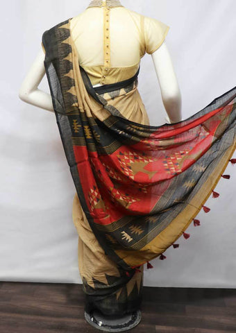 Light Brown Linen  Saree - FV32228 ARRS Silks