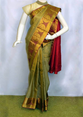 Light Chocolate brown shade with Pink Kanchipuram Silk Saree - FO6527 ARRS Silks