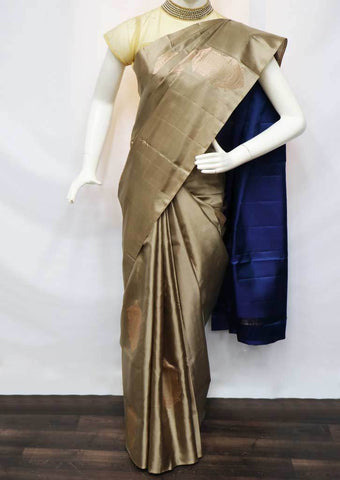 Light Chocolate Brown With Blue Soft Silk Saree - FU44186 ARRS Silks