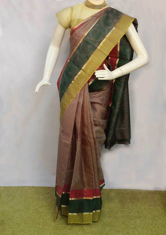 Light Chocolate Brown with Green Kanchipuram Silk Saree - FN68348 ARRS Silks