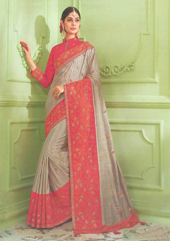 Light Chocolate with orange and Pink shade Designer Saree - FS31707 ARRS Silks