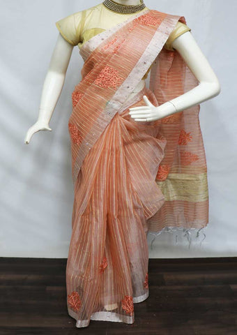 Light Crossandra Linen Tissue Saree -GC37016 ARRS Silks
