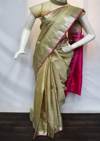 Light Gray With Pink Kanchipuram Silk Saree - GB110465 ARRS Silks