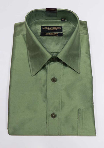 Light Green Pure Silk Shirt ( 44 Size) - BN8214 ARRS Silks