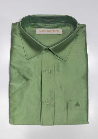 Light Green Pure Silk Shirt ( 44 Size) - SG338 ARRS Silks