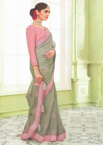 Light green with Baby Pink Designer Saree - FS31706 ARRS Silks