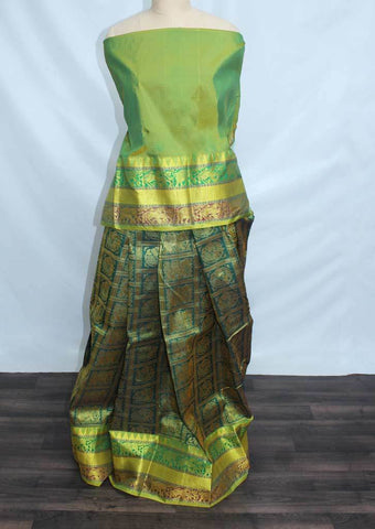 Light Green With Dark Green Colour Checked Pattu Pavadai Material - FF17523 (Size:  13Yrs to 18Yrs) ARRS Silks