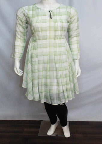 Light Green with Half White Color Synthetic  Kurti - FQ33423 ARRS Silks