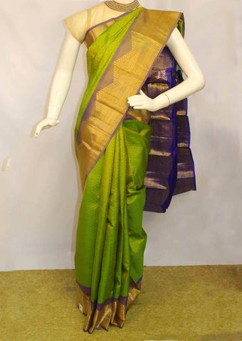 Light Green with Light Blue Kanchipuram Silk Saree - FM76673 ARRS Silks