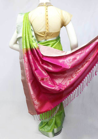 Light green with Pink Soft Silk Saree - FL84588 ARRS Silks