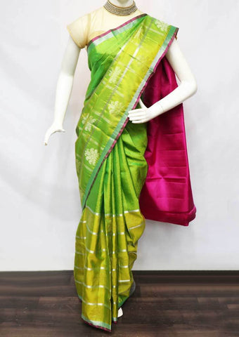 Light Green with Pink Soft Silk Saree - FQ38458 ARRS Silks