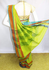 Light Green With Red Chettinad Cotton Saree - FM69237 ARRS Silks
