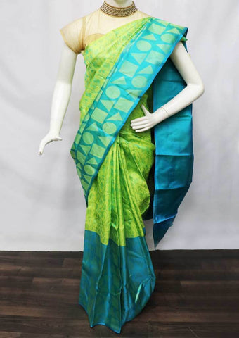Light green with Sky blue Kanchipuram Silk Saree -FS13015 ARRS Silks