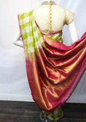 Light Green with White Checked  Kanchipuram Silk Saree -FF23212 ARRS Silks