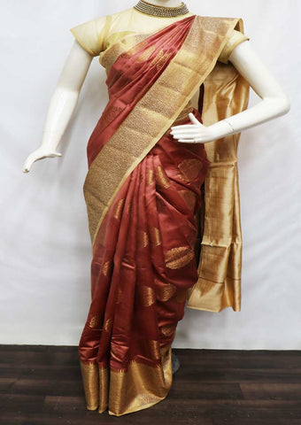 Light Maroon Color Tussar Silk Saree - FV30559 ARRS Silks