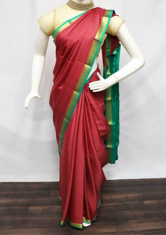Light Maroon with Green  Mysore Silk Saree - FR46755 ARRS Silks
