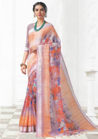 Light Orange Color Linen Saree - FO97721 ARRS Silks