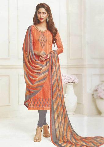 Light Orange Unstitched Chudi - FR74188 ARRS Silks