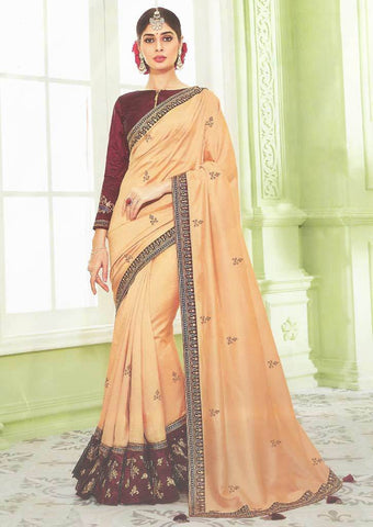 Light Orange with Dark Brown Designer Saree - FS31705 ARRS Silks