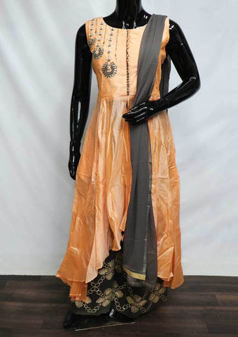 Light Orange With Gray Plazo Readymade Salwar- FL78830 ARRS Silks