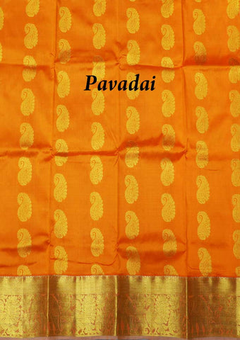 Light Orange With Gray Pure silk Unstitched pattu pavadai - FU46005 ( Age 1yr) ARRS Silks