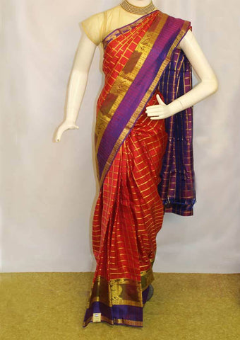 Light Orange with Violet Kanchipuram Silk Saree - FD3493 ARRS Silks