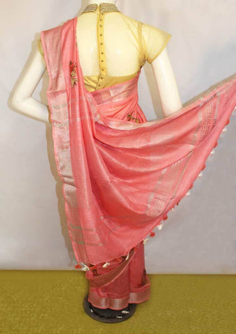 Light Pink Linen Saree - FO44855 ARRS Silks