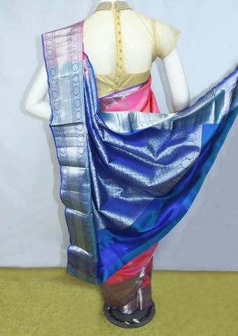 Light Pink With Blue  Kanchipuram Silk Saree-FL22 ARRS Silks