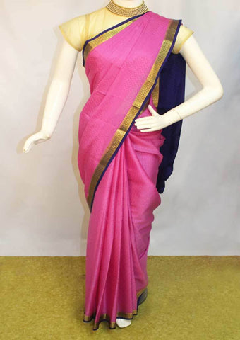 Light  Pink with Blue Mysore Silk Saree-FI10053 ARRS Silks
