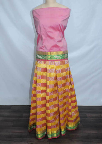 Light Pink With Light Yellow Coloured Pattu Pavadai Material - FF17518 (Size:  13Yrs to 18Yrs) ARRS Silks
